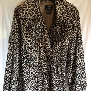 Dennis Basso leopard print lined trench like new L